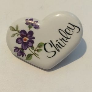 Vintage Ceramic Heart Brooch with SHIRLEY